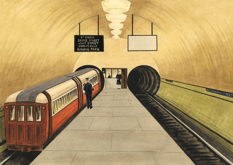 Allan Furniss, Glasgow Subway at Buchanan Street - 1945 watercolour painting