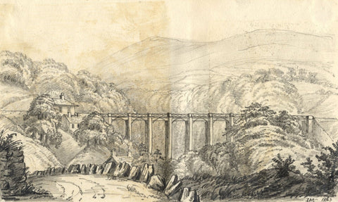 C.A. Collis, Viaduct at Ivybridge, Devon - Original 1863 graphite drawing