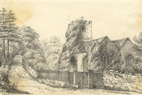 C.A. Collis, St John's Church, Ivybridge, Devon - Original 1845 graphite drawing