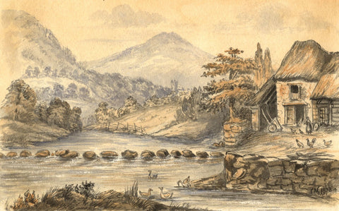 C.A. Collis, Teign at Rushford Mill, Chagford - 1873 watercolour painting