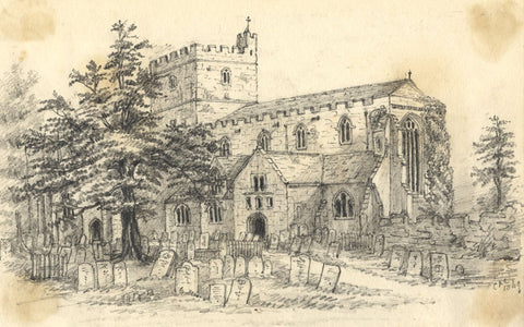C.A. Collis, Brecon Cathedral Priory Church - Original 1869 graphite drawing