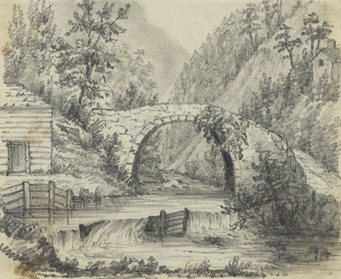 C.A. Collis, Stone Bridge, Llangenau, Crickhowell - 1860s graphite drawing