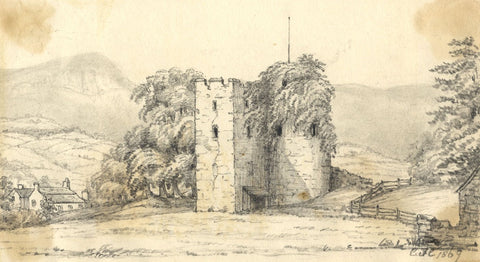 C.A. Collis, Crickhowell Castle Ruins, Wales - Original 1869 graphite drawing