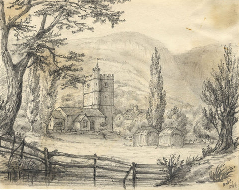 C.A. Collis, St Catwg's Church, Llangattock - Original 1869 graphite drawing