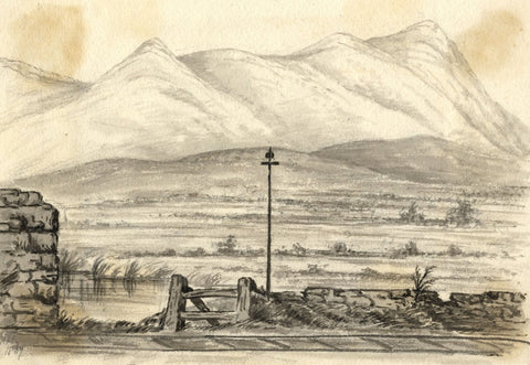 C.A. Collis, Galtee Mountains from the Train, Ireland -1869 watercolour painting