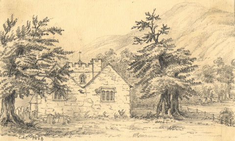 C.A. Collis, St Peter's Church, Llanbedr, Wales - Original 1896 graphite drawing