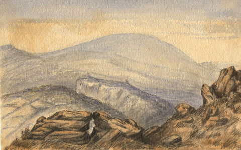 C.A. Collis, Cawsand Beacon, Dartmoor - Original 1869 watercolour painting