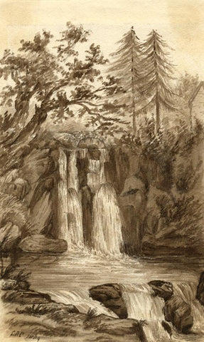 C.A. Collis, Waterfall, Rhyd Goch River, Wales - 1869 watercolour painting
