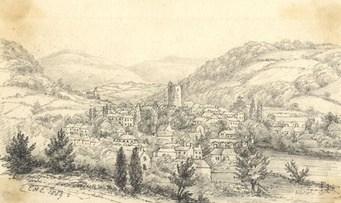 C.A. Collis, Brecon Town View from Cemetery - Original 1869 graphite drawing