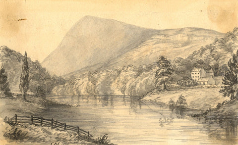 C.A. Collis, River Usk, Crickhowell, Wales - Original 1869 watercolour painting