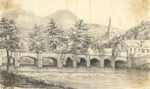 C.A. Collis, Stone Bridge, Crickhowell, Wales - Original 1869 graphite drawing