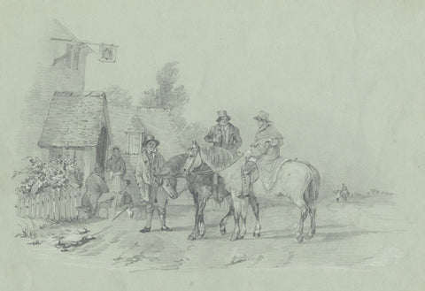 S.L. Collis, Genre Scene Outside the Inn - Mid-19th-century graphite drawing