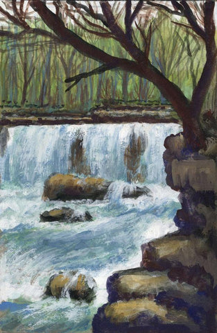 Victor Papworth, Aysgarth Falls Yorkshire Dales - Original 1970 gouache painting