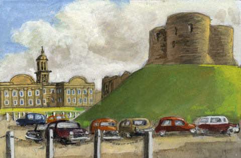 Victor Papworth, Clifford's Tower & Museum York - Original 1970 gouache painting