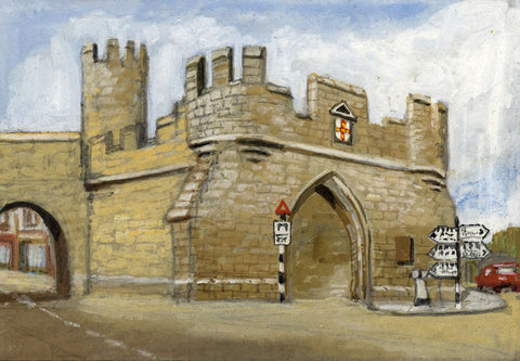 Victor Papworth, Walmgate Bar, York City Walls - Original 1970 gouache painting