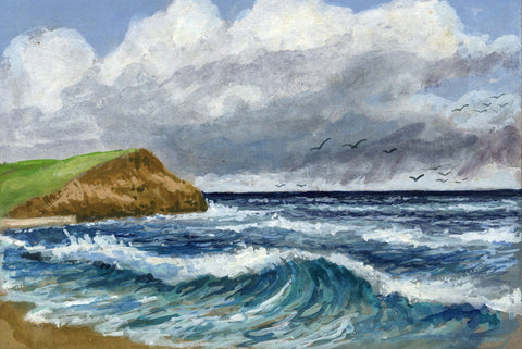 Victor Papworth, North Bay, Scarborough - Original 1970 gouache painting