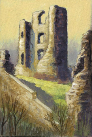 Victor Papworth, The Keep, Scarborough Castle - Original 1970 gouache painting