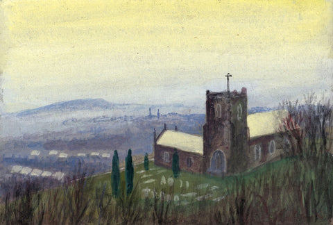 Victor Papworth, St Mary's Church, Scarborough - Original 1970 gouache painting