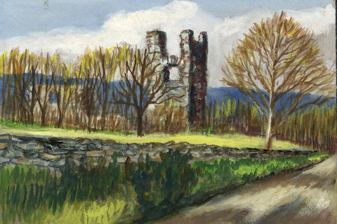 Victor Papworth, Helmsley Castle Ruins Yorkshire -Original 1970 gouache painting