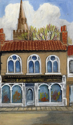 Victor Papworth, Shop Front, Pickering - Original 1970 gouache painting