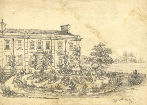 C.A. Collis, Upcott House, Bishop's Hull, Taunton - 1846 graphite drawing