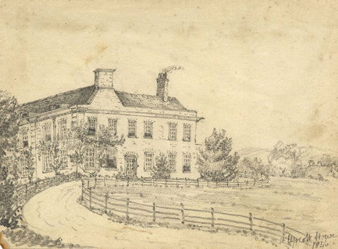 C.A. Collis, Upcott House Bishop's Hull nr Taunton - 1846 graphite drawing