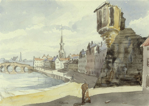 Miller's Folly Fort & New Bridge, Ayr  - mid-19th-century watercolour painting