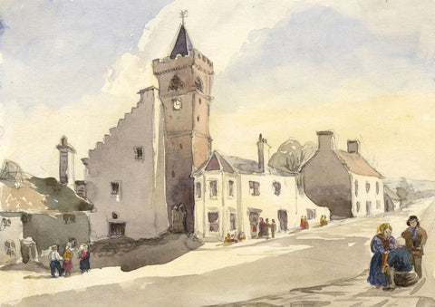 Clock Tower, Maybole, Tolbooth, Ayr - Original 19th-century watercolour painting