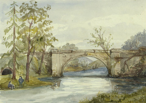 Dennick Bridge, Alnwick, Northumberland - Mid-19th-century watercolour painting
