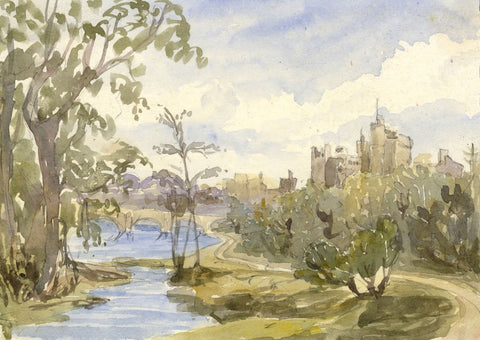 Alnwick Castle & River Aln - Original mid-19th-century watercolour painting