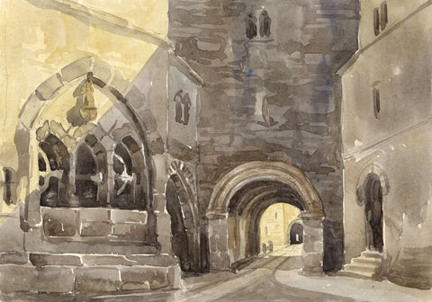 Draw-well, Inner Court, Alnwick Castle - mid-19th-century watercolour painting