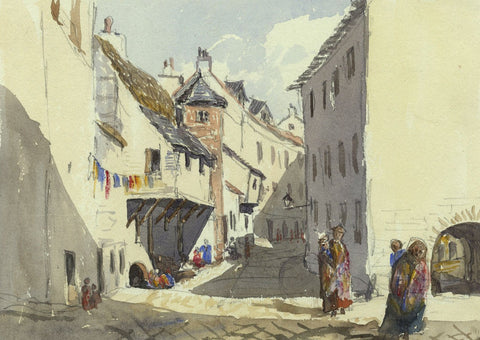 Hope Street (Isle Lane) Ayr - Original mid-19th-century watercolour painting