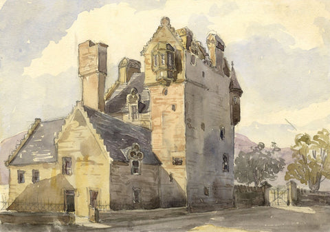 Maybole Castle, Ayr, Scotland - Original mid-19th-century watercolour painting