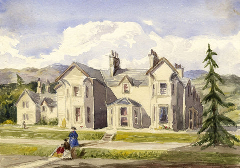 Finnart House, Loch Long, Scotand - Mid-19th-century watercolour painting