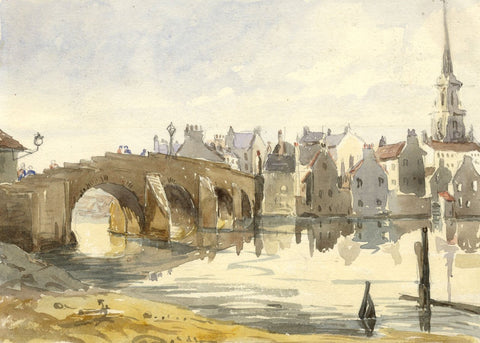 Old Bridge of Ayr, Scotland - Original mid-19th-century watercolour painting