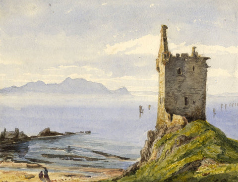 Greenan Castle, Ayr, Scotland - Original mid-19th-century watercolour painting