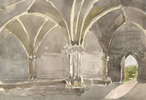 Interior Chapter House, Crossraguel Abbey - 19th-century watercolour painting