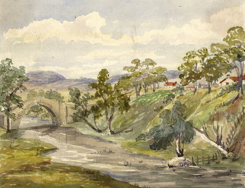 River Valley, Scotland - Original mid-19th-century watercolour painting
