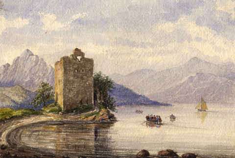 Carrick Castle, Loch Goil  - Original mid-19th-century watercolour painting