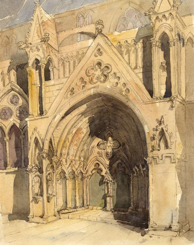 South Door, Lincoln Cathedral  - Original mid-19th-century watercolour painting