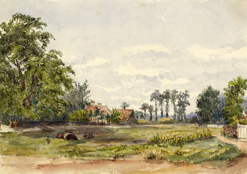 Halliford Common, Surrey - Original mid-19th-century watercolour painting