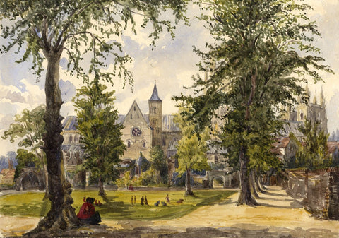 The Green Court, Canterbury - Original mid-19th-century watercolour painting