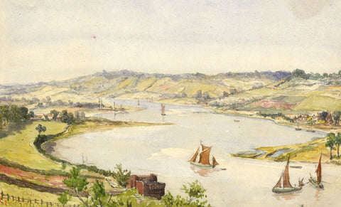 River Medway, Landscape View - Original mid-19th-century watercolour painting