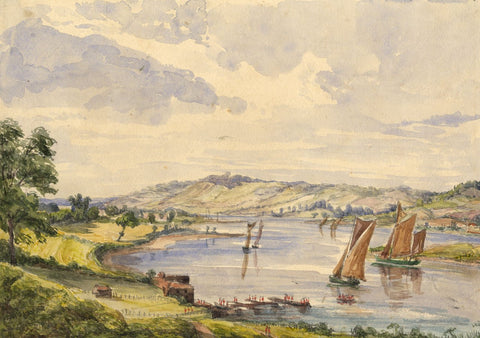 Sailing Boats, River Medway - Original mid-19th-century watercolour painting