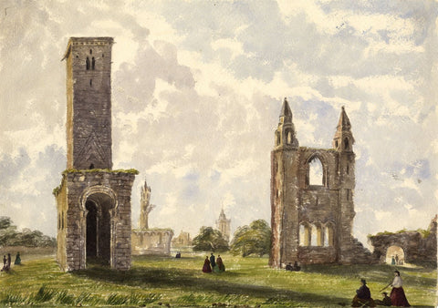 St Rules Tower, St Andrews Cathedral - Mid-19th-century watercolour painting