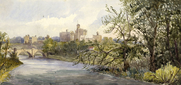 Alnwick Castle From Dairy Grounds - Original 19th-century watercolour painting