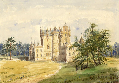 Glamis Castle, Scotland - Original mid-19th-century watercolour painting