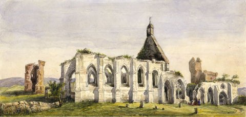 Crossraguel Abbey, Maybole - Original mid-19th-century watercolour painting