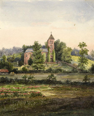 St Peter & St Paul's Church, Albury - Original 19th-century watercolour painting