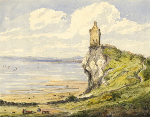 Greenan Castle, Aryshire - Original mid-19th-century watercolour painting
